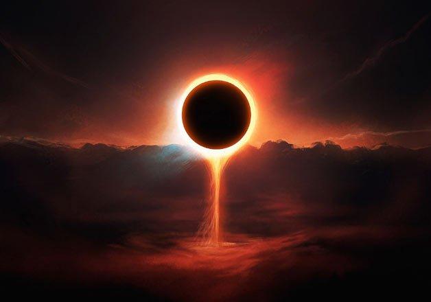 Solar eclipse con raya