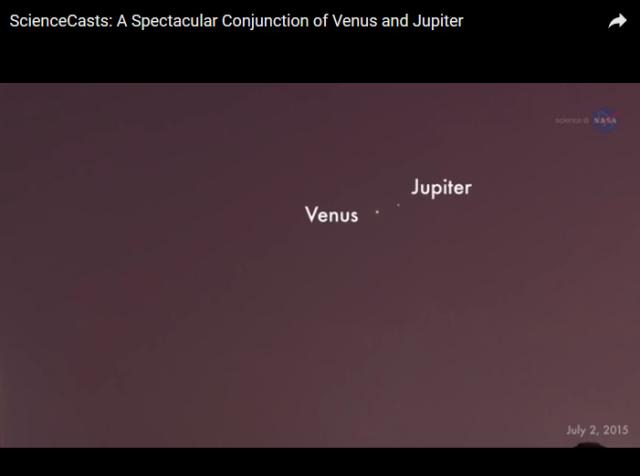 Espectacular conjucion de Venus y Jupiter.