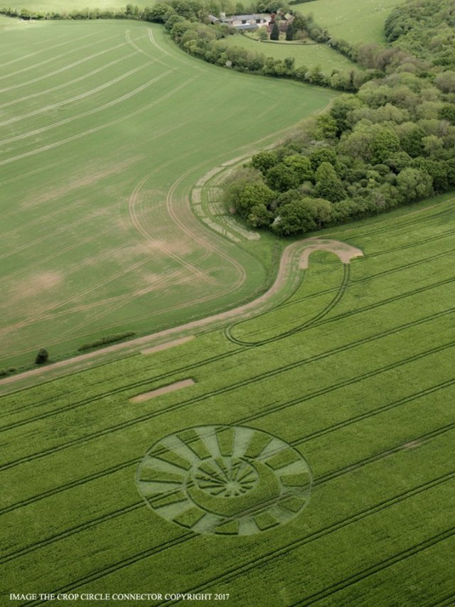 Crop circle el Reino Unido forma de reloj