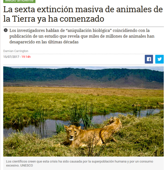 Sexta exteincion masiva de animales