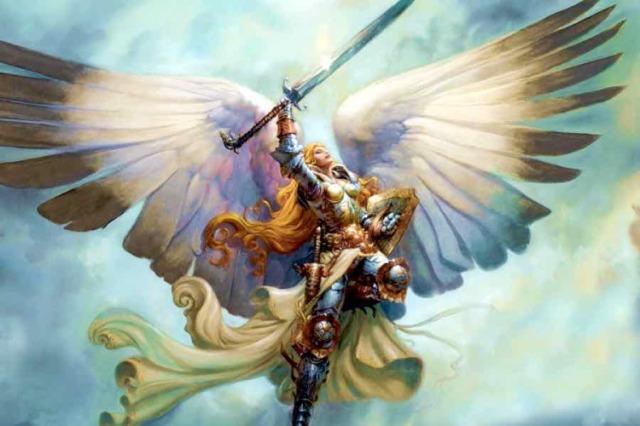 Arcanagel Miguel en el aire con espada