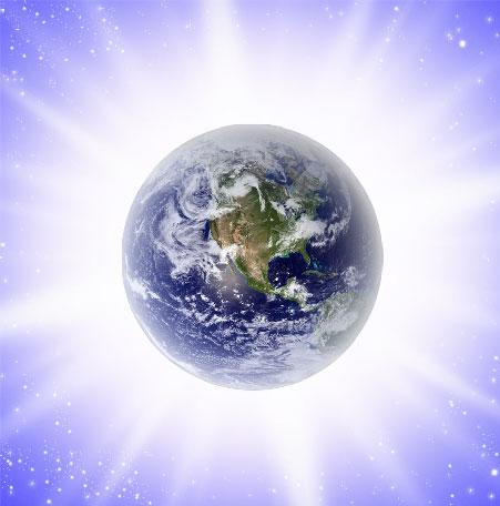 Planeta Tierra envuelto en luz blanca